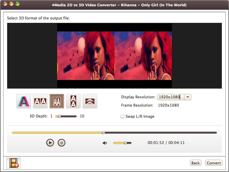 4Media 2D to 3D Video Converter for Mac - 3d movie converter, 2d to 3d converter, 3d video converter, 2d to 3d conversion - 4Media 2D to 3D Video Converter for Mac is advanced stereoscopic 3D environment.