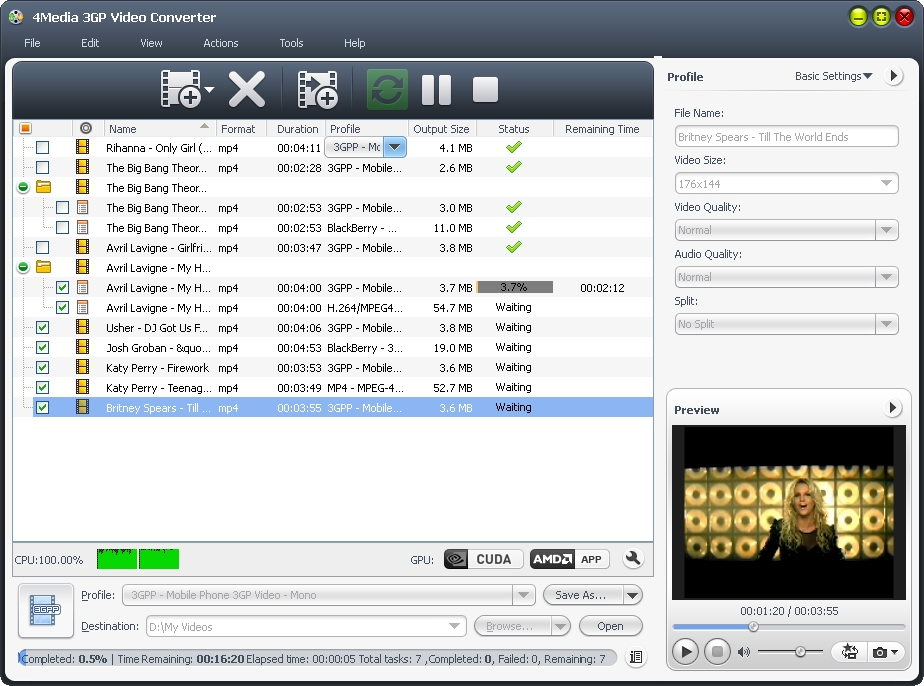 Click to view 4Media 3GP Video Converter screenshots