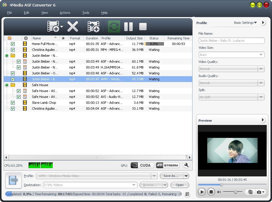 4Media ASF Converter screenshot: asf converter, asf video converter, convert asf, asf to avi, convert asf to mp3