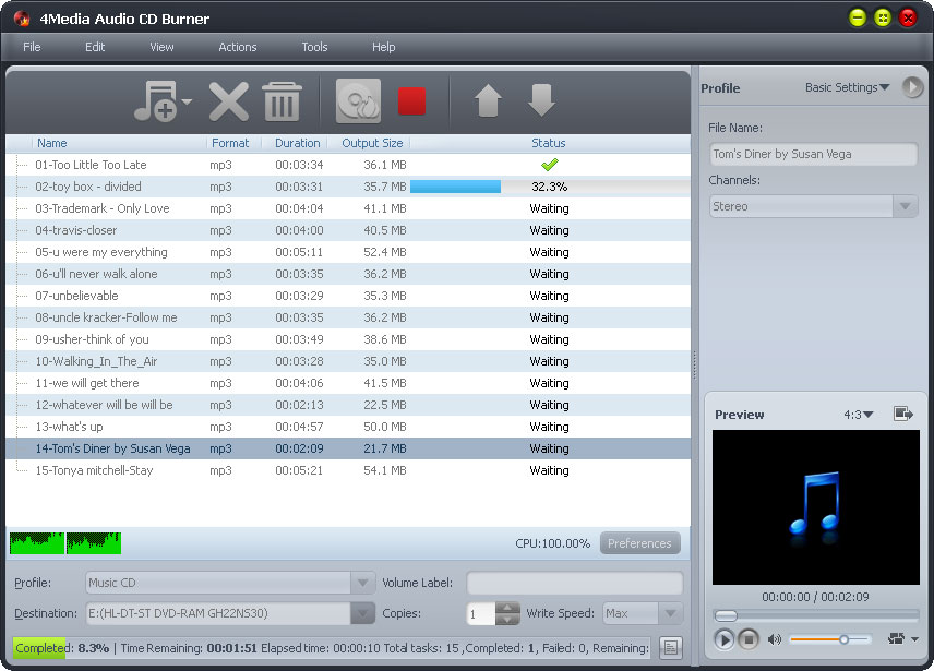 4Media Audio CD Burner screenshot: cd burner, audio cd burner, burn audio to cd, music cd burner