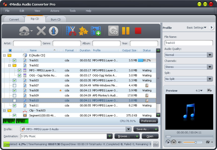 4Media Audio Converter Pro screenshot: audio converter, cd ripper, cd burner, audio extractor, rip cd to mp3, burn mp3 to cd