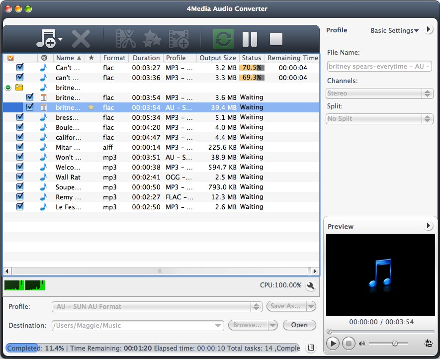 4Media Audio Converter for Mac screenshot