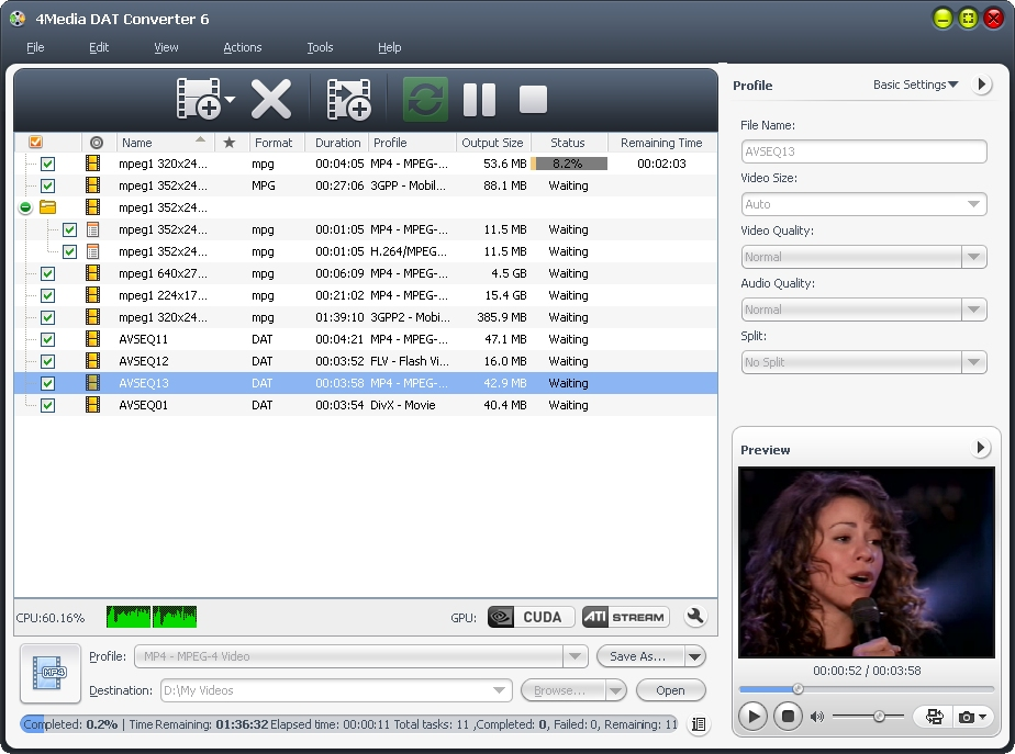 4Media DAT Converter screenshot: DAT video converter, convert DAT to AVI, DAT to MP4, DAT to 3GP, DAT to 3GP