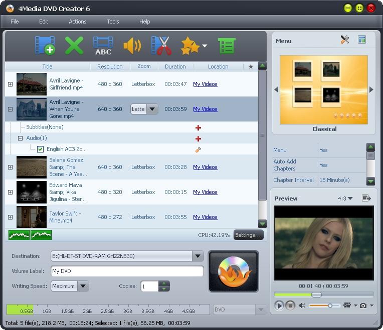 Click to view 4Media DVD Creator 7.1.2.20130417 screenshot