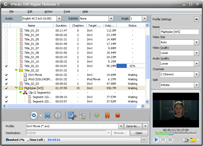 Click to view 4Media DVD Ripper Platinum screenshots