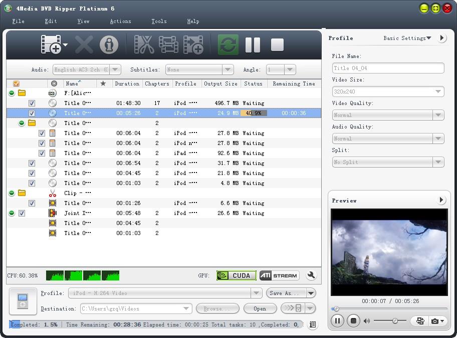 Click to view 4Media DVD Ripper Platinum 7.0.0.1121 screenshot