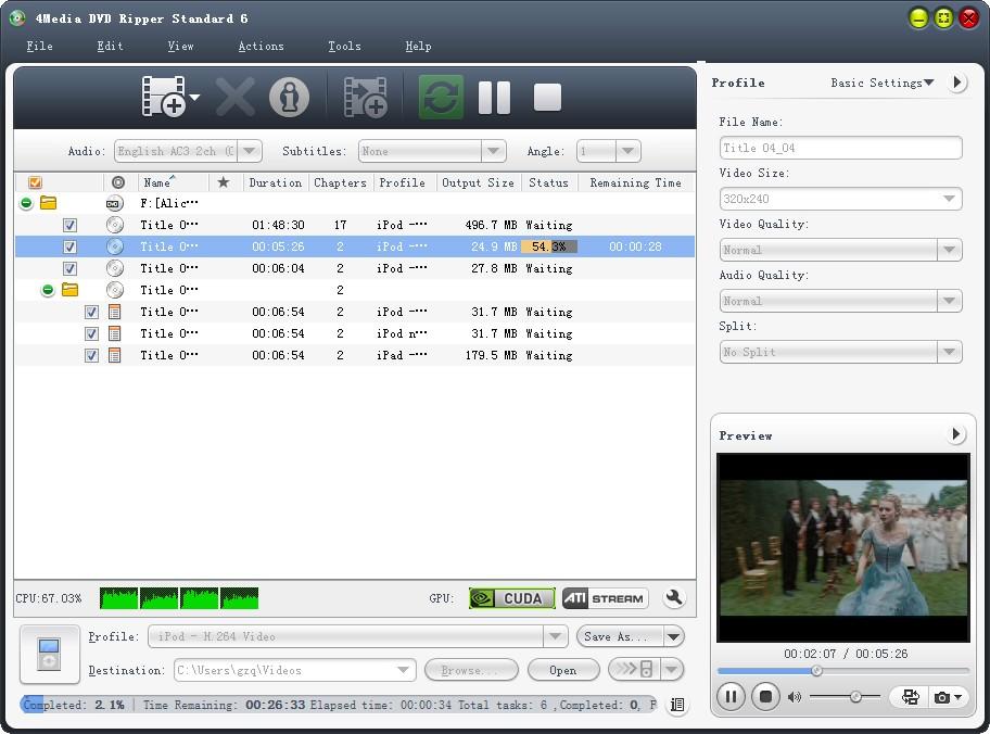 Click to view 4Media DVD Ripper Standard 7.0.0.1121 screenshot