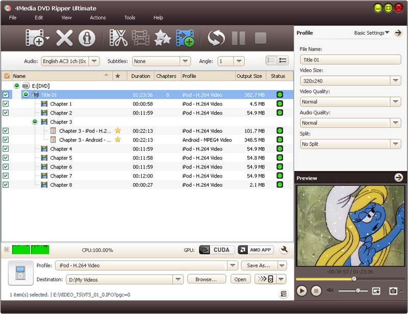 4Media DVD Ripper Ultimate - dvd to avi, dvd ripper software, rip dvd to avi - 4Media DVD Ripper Ultimate can rip DVD to almost all video and audio files.