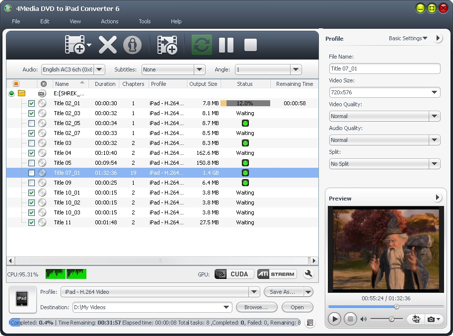 4Media DVD to iPad Converter Screenshot