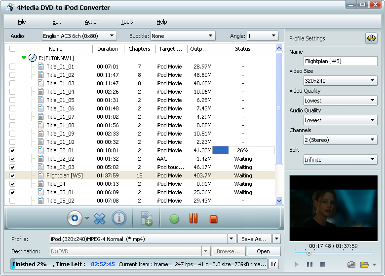 Click to view 4Media DVD to iPod Converter screenshots