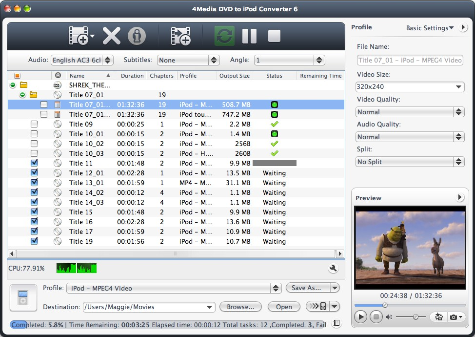 4Media DVD to iPod Converter for Mac full screenshot
