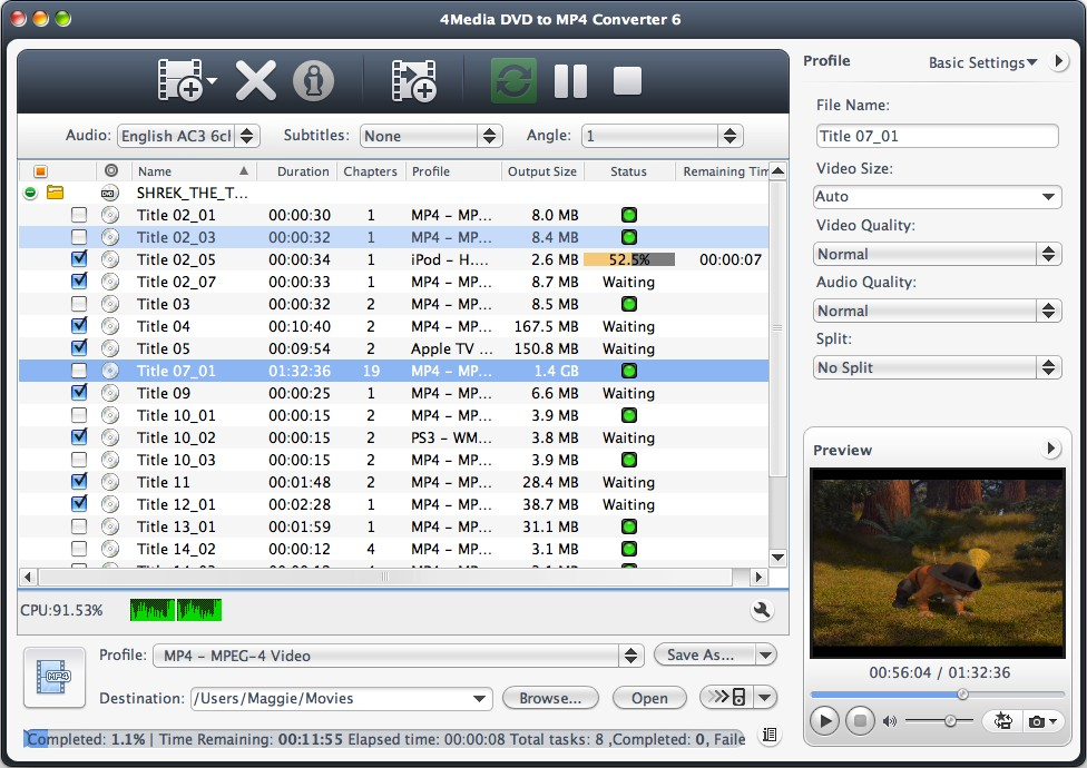 It converts DVD to MP4 video format for Mac.