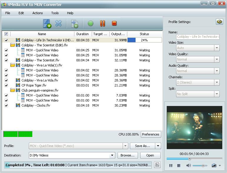 التعريب 723 ـ 4Media FLV to MOV Converter 5 لتحويل ملفات فيديو FLV إلى MOV m-flv-to-mov-convert