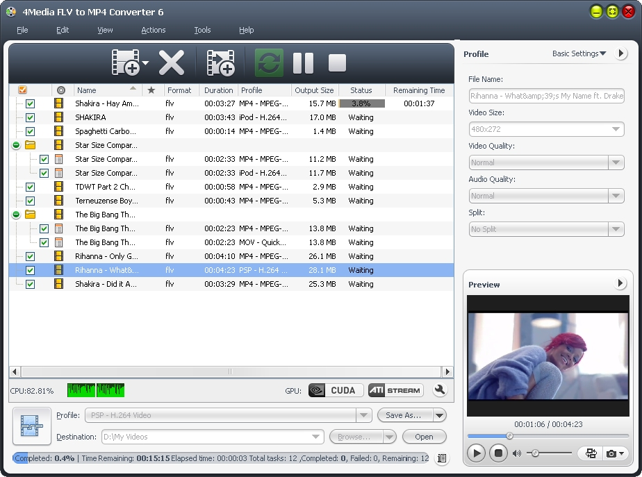 4Media FLV to MP4 Converter screenshot: flv to mp4 converter, convert flv to mp4, convert flv to mpeg-4