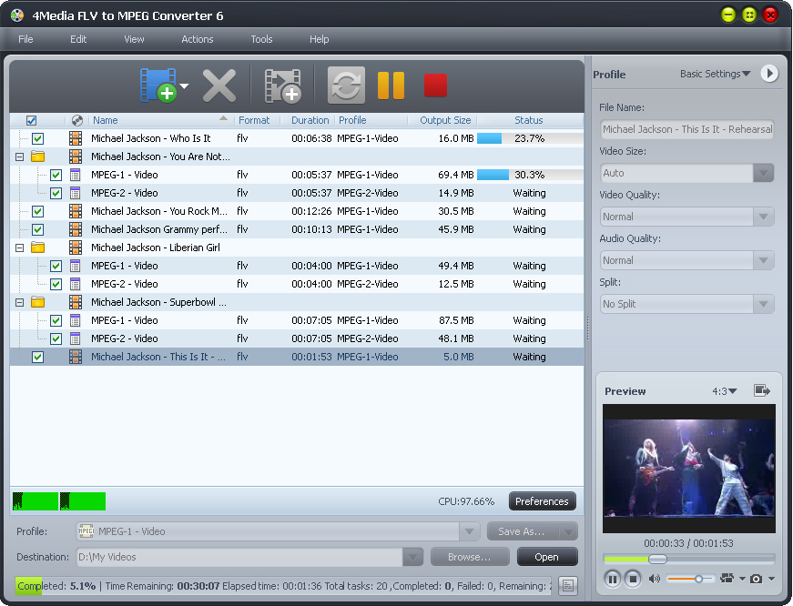 4Media FLV to MPEG Converter screenshot: FLV to MPEG converter