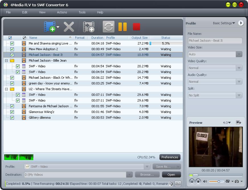 4Media FLV to SWF Converter screenshot: flv to swf converter, convert flv to swf, flv to swf