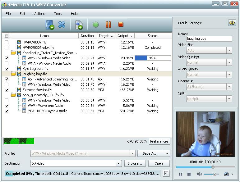 ����� ������ 4Media FLV to WMV Converter v5 ������ FLV ��� ��� WMV � ASF