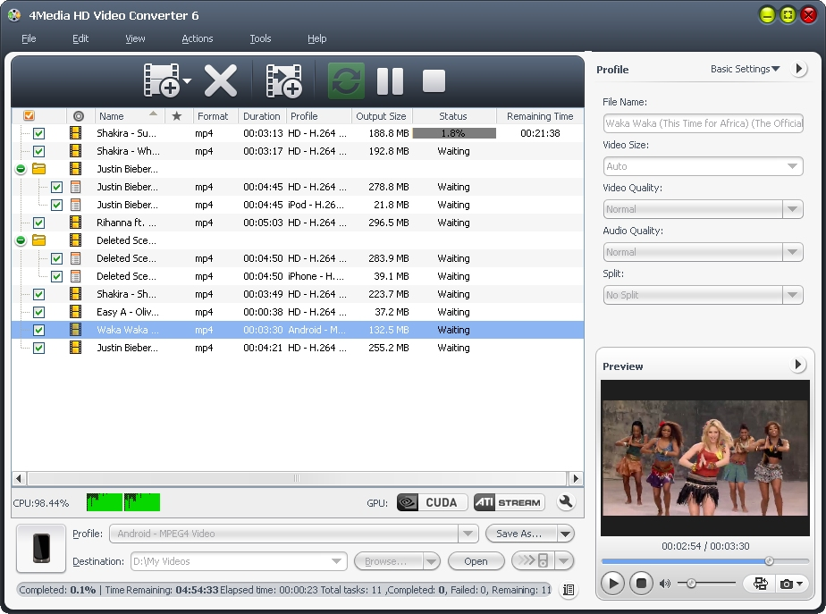 4Media HD Video Converter Screen shot