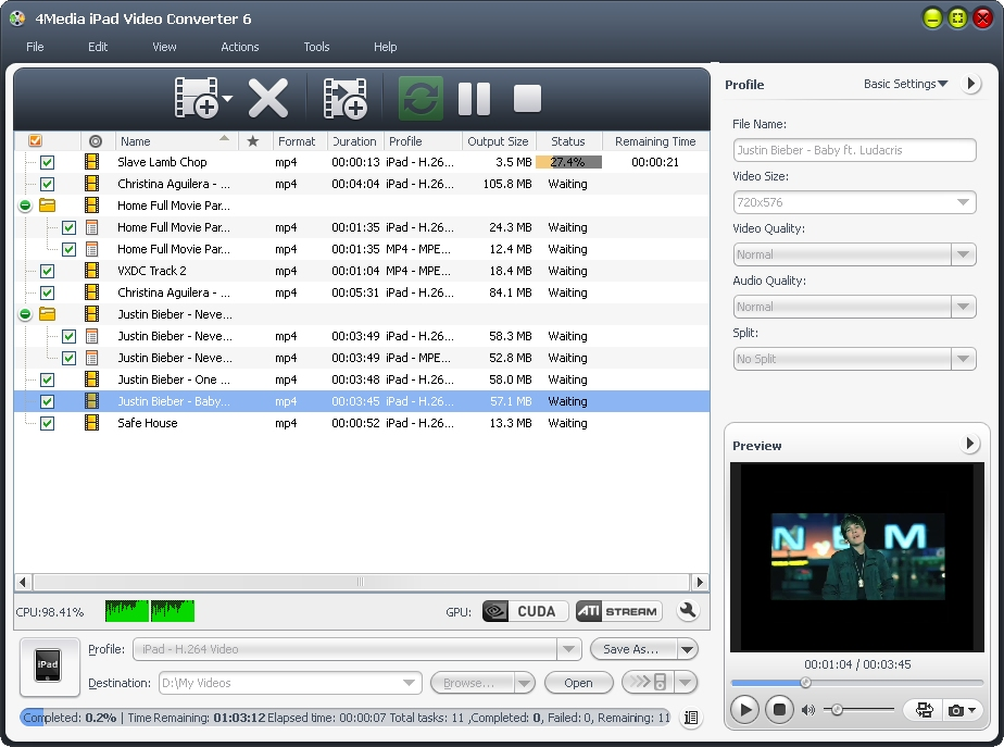 4Media iPad Video Converter screenshot: ipad video converter, convert video files to ipad