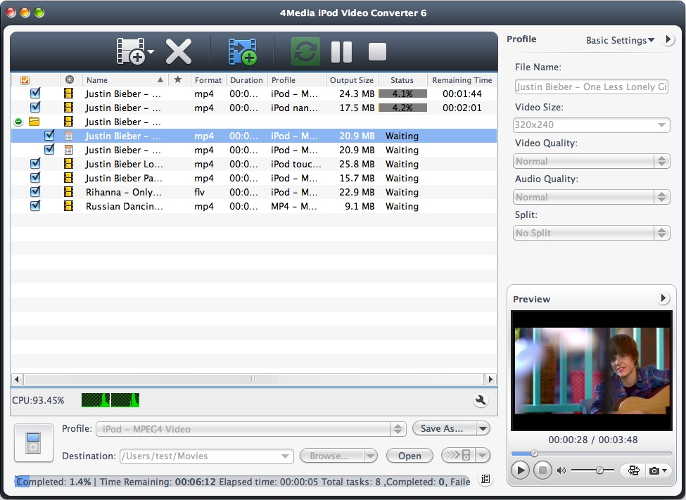 4Media iPod Video Converter for Mac Screen shot