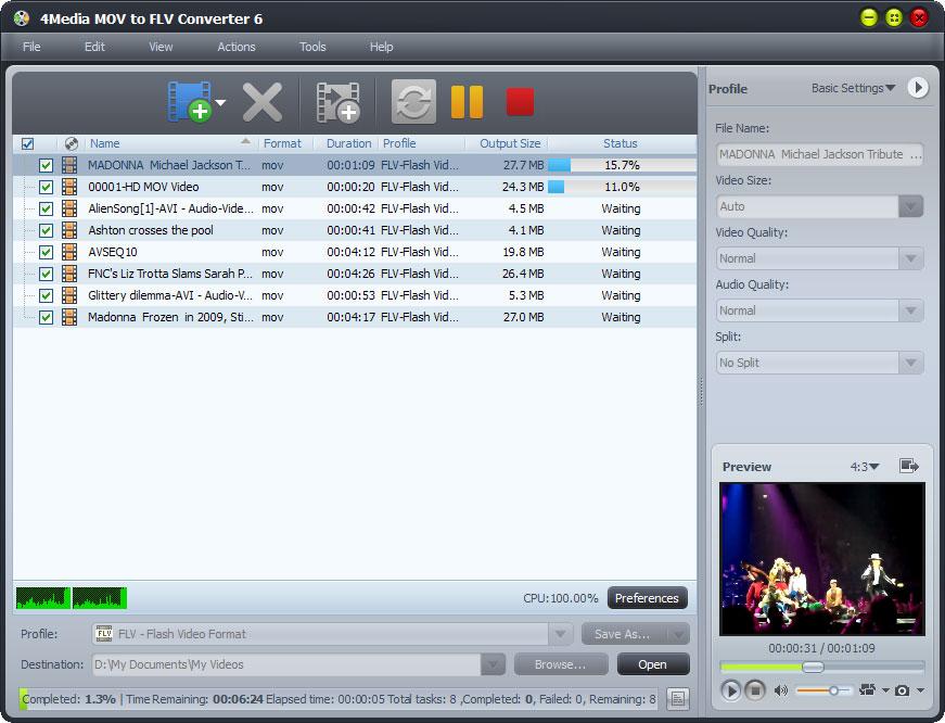 4Media MOV to FLV Converter screenshot: MOV to FLV converter, convert mov to flv, convert QuickTime to flv, QuickTime to flv converter