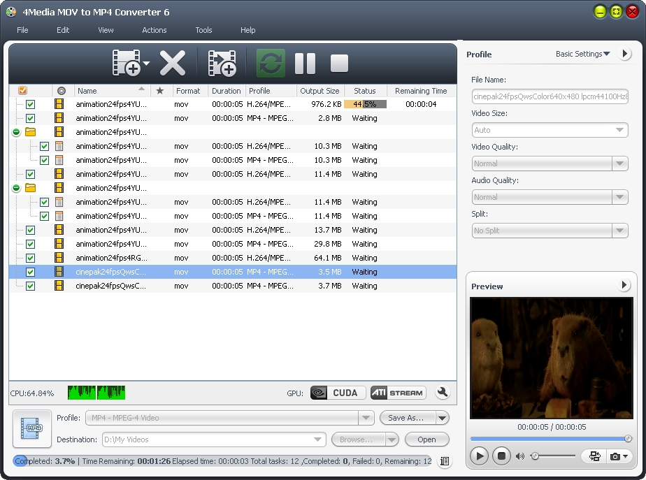 4Media MOV to MP4 Converter screenshot: MOV to MP4, MOV to MP4 converter, convert MOV to MP4, mov mp4 converter, mov to mp4 convertor, convert mov mp4, converting mov to mp4, mov to mp4