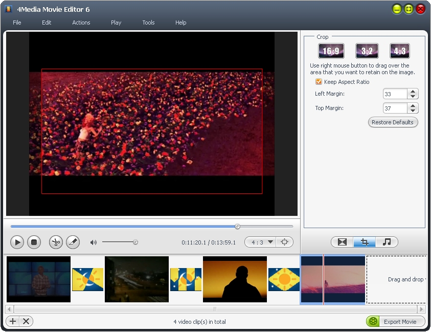 4Media Movie Editor - movie editor, movie editor software, movie maker, make movie, edit movie - Movie maker to create movies from camcorder videos and common videos