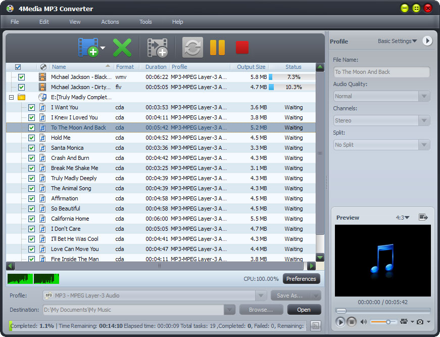 4Media MP3 Converter screenshot: mp3 converter, convert mp3, video to mp3 coverter, wav to mp3, wma to mp3