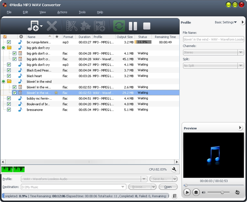 4Media MP3 WAV Converter screenshot: MP3 WAV Converter, convert MP3 WAV, Convert WAV to MP3, convert video to mp3