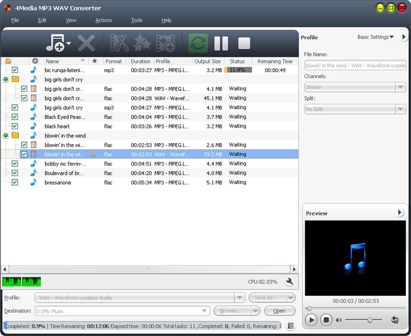 Convert between WAV and MP3 formats.