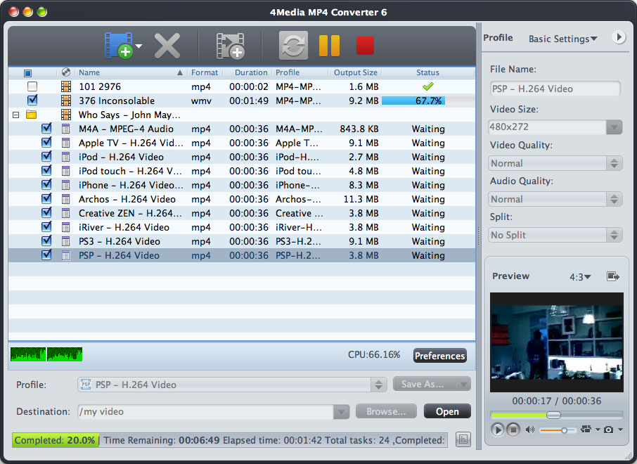 4Media MP4 Converter for Mac Screen shot