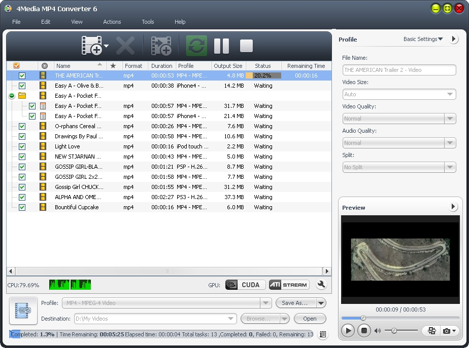 It can convert AVI MPEG DivX MOV RM WMV 3GP VOB VCD DV to MP4 video. best Screen Shot