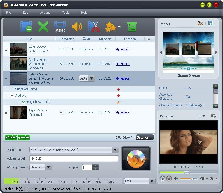 4Media MP4 to DVD Converter full screenshot