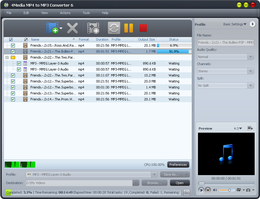 4Media MP4 to MP3 Converter Screen shot