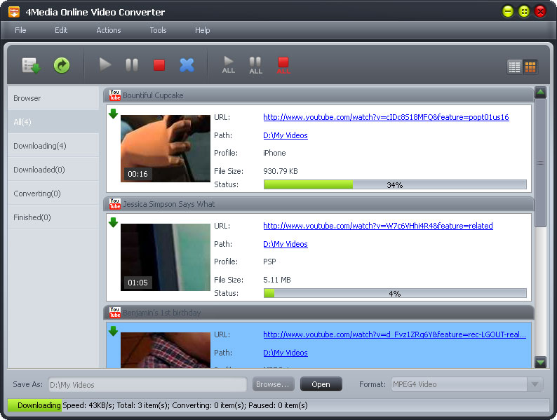 Click to view 4Media Online Video Converter 2.0.20.0902 screenshot