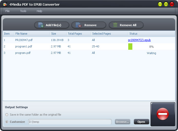 4Media PDF to EPUB Converter - pdf to epub, pdf to epub converter, convert pdf to epub - Convert PDF files to EPUB format for viewing on electronic books (eBooks).
