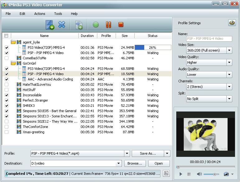 ����� ������ 4Media PS3 Video Converter v3 ������ ����� ������� ��� PS3 � PSP