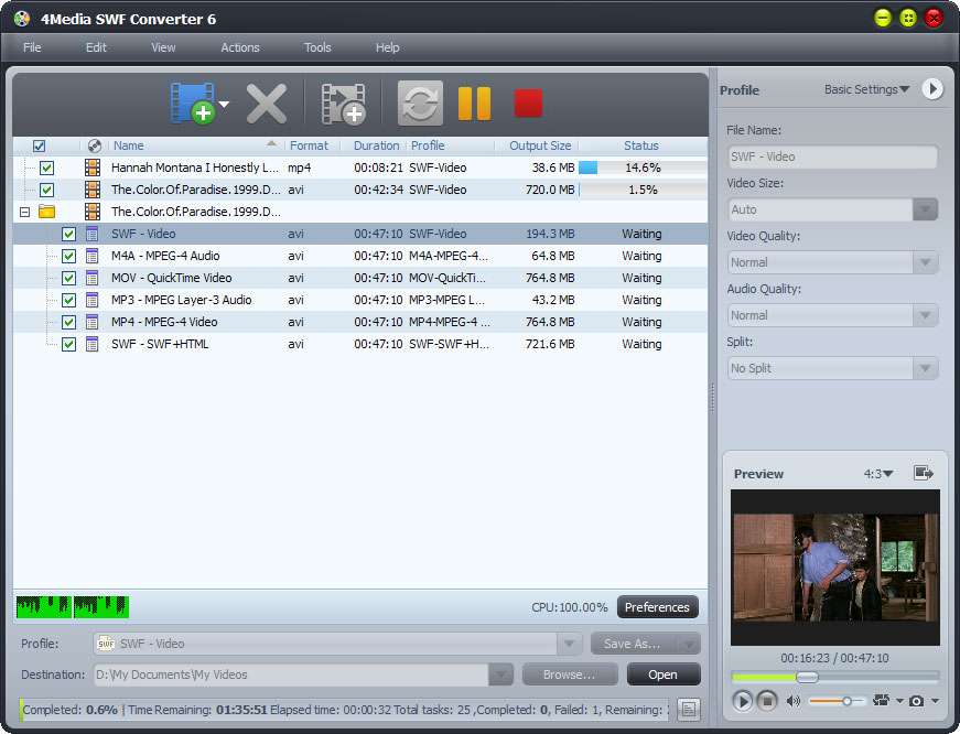 Click to view 4Media SWF Converter screenshots