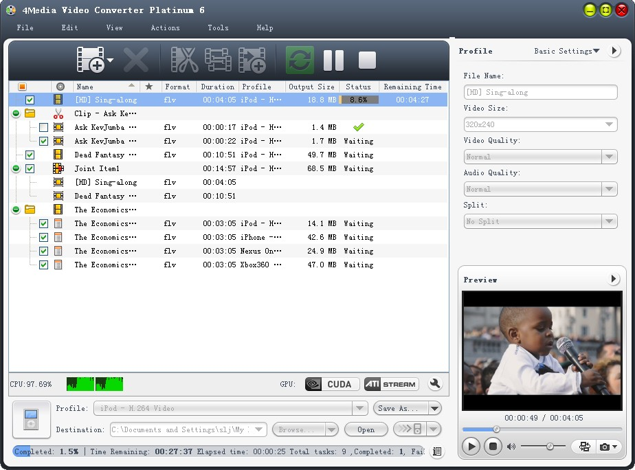 4Media Video Converter Platinum Screen shot