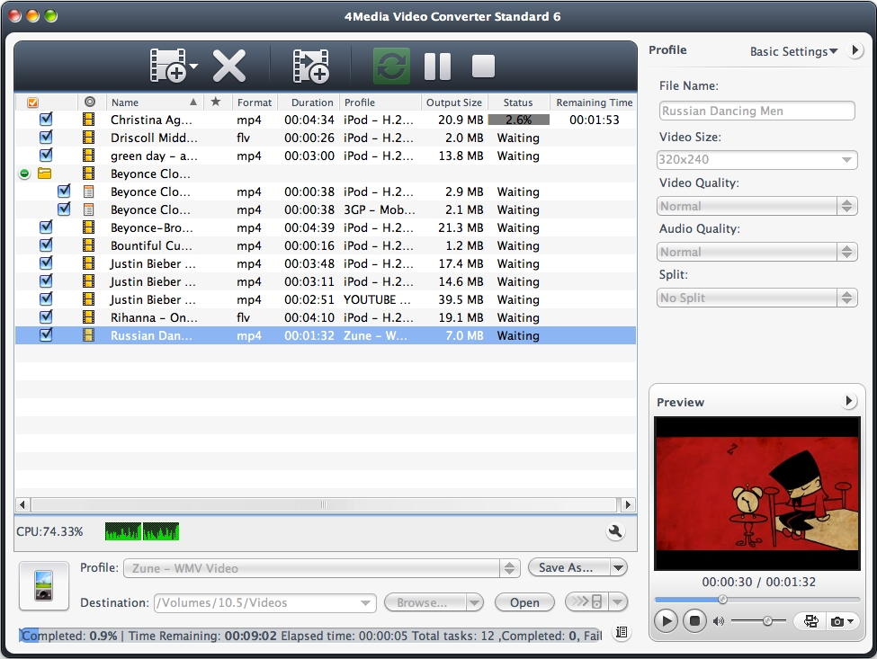 4Media Video Converter Standard for Mac Screen shot