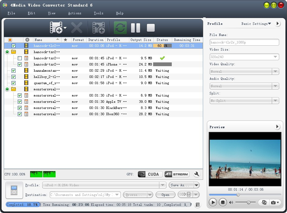 4Media Video Converter Standard Screen shot