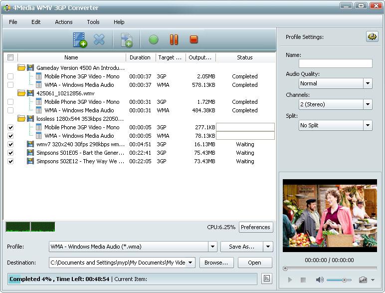 التعريب 731 ـ 4Media WMV 3GP Converter 5 لتحويل ملفات فيديو من و إلى WMV و 3GP m-wmv-3gp-converter.