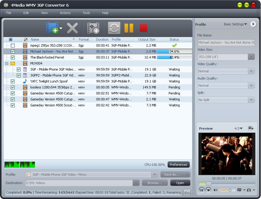 4Media WMV 3GP Converter 6.0.2.0415 full