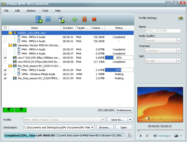 التعريب 732 ـ 4Media WMV MP4  Converter 5 لتحويل ملفات فيديو من و إلى WMV و MP4 m-wmv-mp4-converter.